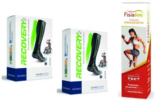 Pack 2 pares CALCETINES SIGVARIS RECOVERY2 Talla M Color Negro/Verde +FISIOVEN CREMA MASAJE OBSEQUIO